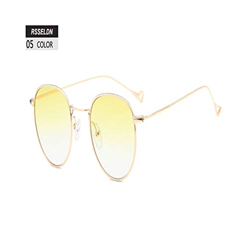 Sport-Sonnenbrillen, Vintage Sonnenbrillen, Vintage Round Sunglasses Women Summer Clear Lens Small Frame Sun Glasses For Men Fashion Yellow Blue Green UV400 Metal 05