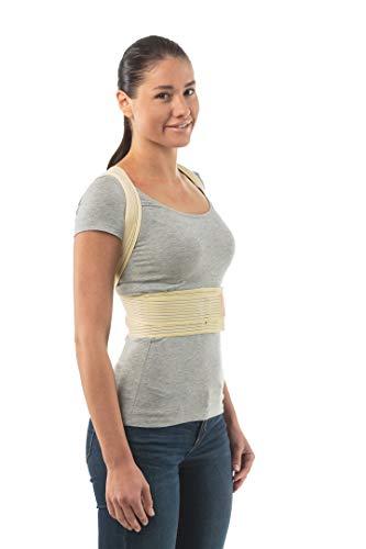 Corrector de postura para escoliosis, cifosis torácica y alivio del dolor de espalda - Corrector de columna vertebral faja soporte de espalda para mujeres y hombres - Alivio de tensión lumbar superior y pectoral inferior y medio - Talla 4: 100-106 CM; 39-43', Piel