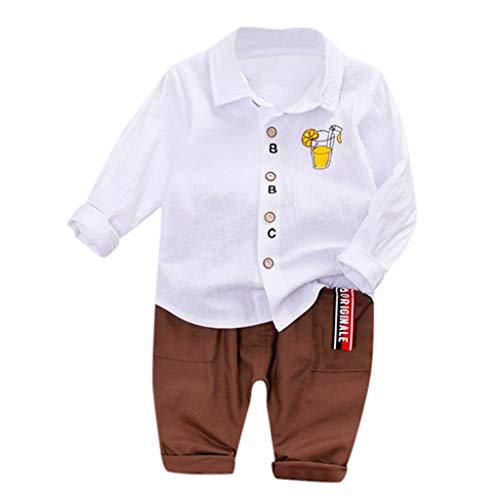 Lange Ärmel Mode Drucken Hemd Tops Gentleman Party Kinderanzug Hochzeit Taufe Festlich Gestreifte Shorts Outfit Set ()