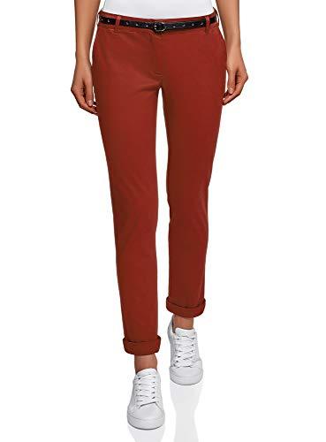 oodji Ultra Donna Pantaloni Chino con Cintura, Rosso, IT 40 / EU 36 / XS