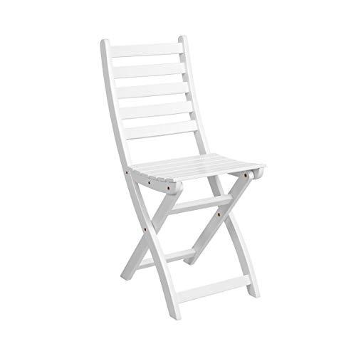 BUTLERS Lodge Holzstuhl Weiß für Balkon 36x50x86 cm - klappbarer Stuhl aus FSC-Akazienholz - Balkonstuhl, Gartenstuhl