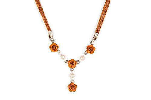 Damen Trachten Halskette - ROSEN (Trachten Halskette Gold)