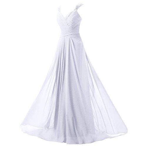 Find Dress Robe de Bal Longue Princesse Robe de Cérémonie Femme pour Mariage Style Elégant Anniversaire Gala Gown Taille Personnaliser en Mousseline Blanc