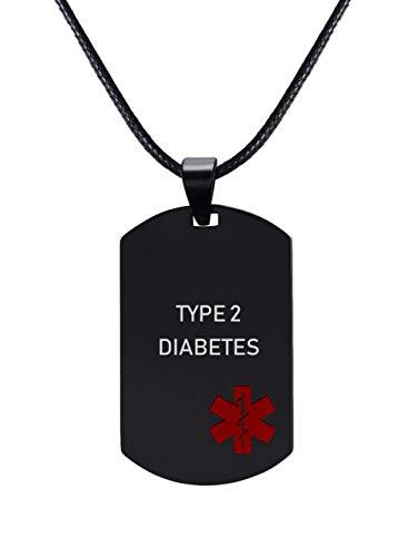 XUANPAI Edelstahl Benutzerdefinierte Personalisierte Notfall Medical Alert Dog Tag Anhänger Halskette Gravierte Type 2 Diabetes (Medizinische Notfall Tasche)