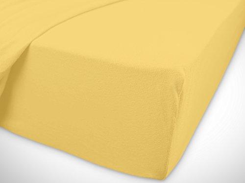 npluseins klassisches Jersey Spannbetttuch - erhältlich in 34 modernen Farben und 6 verschiedenen Größen - 100% Baumwolle, 90-100 x 200 cm, gelb - 7