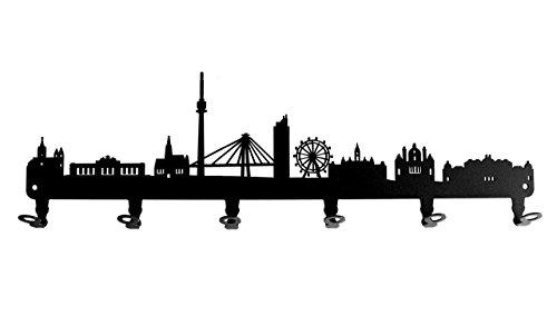 steelprint.de Wandgarderobe - Skyline Wien - Flurgarderobe - Österreich - Kleiderhaken, Hakenleiste, Garderobeneiste, Garderobenhalter, Garderobe - Metall, Schwarz