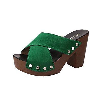 Sandales femmes Printemps Été Automne Bureau Tissu Confort & Robe Carrière Rivet Talon Rouge Vert Noir Blanc Green