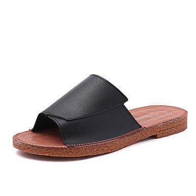 zhENfu donna pantofole & amp; flip-flops sandali Comfort PU Primavera Estate Casual tacco basso Nero Bianco Beige Rosa arrossendo sotto 1in Black