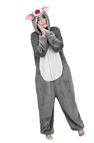 URVIP Neu Unisex Adult Pyjama Cosplay Tier Onesie Body Nachtwäsche Kleid Overall Animal Sleepwear Schlafanzug mit Kapuze Erwachsene Cosplay Kostüm Grau-Katze S