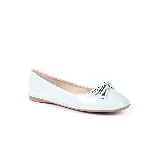 Ideal Shoes Ballerines Vernies à Bout Carré Jamina Bleu ciel