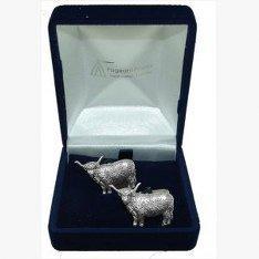 Highland Kuh Manschettenknöpfe, Hochzeitsgeschenk, Trauzeuge, Amtsdiener, wird in Organza-Beutel geliefert