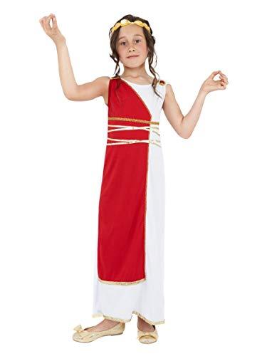 Kinder Mädchen Griechisch Römische Toga Schule Grichischer Buch Tag Kostüm Verkleidung Outfit - Weiß/Rot, 7-9 Jahre, Weiß/Rot