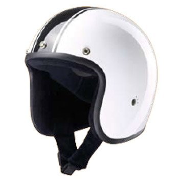 Bandit Helmets Jethelm Classic Jet, Motorradhelm ohne ECE mit Sonnenschild, Sports-Farbe:white black;Größe:L(59-60cm)