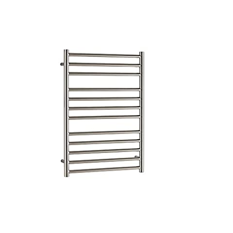 Braddan (SBB) Stainless Steel Ladder Towel Rail for Central Heating. A Bright Polished Designer Heated Ladder Bath and Shower Room Warmer Rack. High Heat Output Crossbars to Dry Your Towels in No Time, 800 x 400