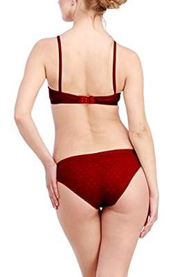 Glus Women's Bra and Bikini Set, Color-Maroon