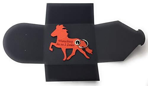 Schlüsselanhänger aus Filz - Island-Pferd/Reiter - hell-braun/rost-braun - mit Namensgravur als Geschenk, Glücksbringer mit Öse und Schlüsselring - Made-in-Germany -