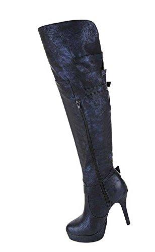 Damen Stiefel Schuhe High Heels Stiletto Overknee Schwarz Blau Braun 35 36 37 38 39 40 41 42