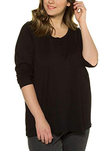 Ulla Popken Damen Shirt mit Knopfleiste, Langarm Bluse, Schwarz (Schwarz 10), (Herstellergröße: 54+)