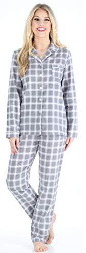 PajamaMania Flanell Pyjama für Damen, Schlafanzug, Grau Plaid (PMF1002-2059-UK-SML) - Grau Plaid Flanell
