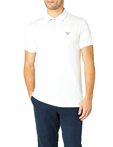 Gant - Polo - Col Polo - Manches Courtes Homme - Blanc - Blanc - FR : XX - Large (Taille Fabricant : XXL) (Brand size: XXL)