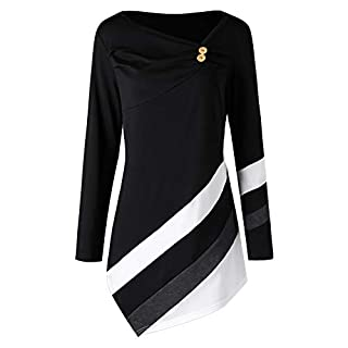 Anglewolf Women Autumn Winter Striped Asymmetrical Tunic Tops Plus Size Blouse T-Shirts Women's Long Sleeve Casual Sweatshirts Shirt Cowl Neck Jumper Top Hoodies Pullover Hooded(Black,2XL)