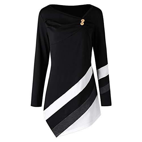 7d6bbe66422 Anglewolf Women Autumn Winter Striped Asymmetrical Tunic Tops Plus Size  Blouse T-Shirts Women's Long