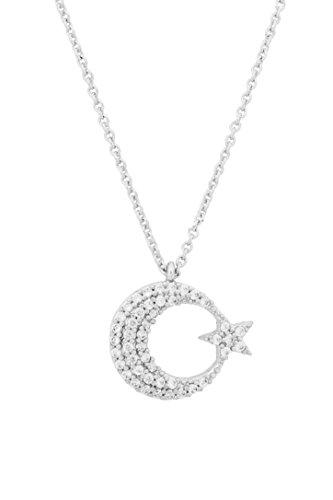 Remi Bijou - Stern Halskette Kette mit Zirkonia Strass Stern Ay Yildiz Mond Star