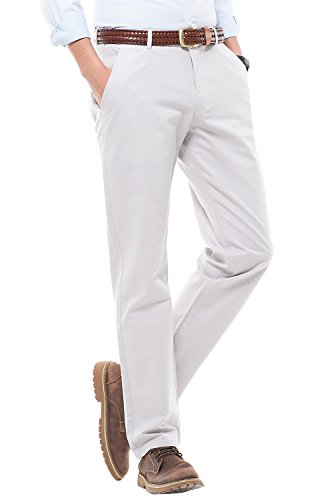 HARRMS Herren 100% Baumwolle Hose, Regular Fit, Straight Leg, Lange Business Hose Casual Stoffhose Freizeithose, Modell MH103,16 Farben Grau - Hell
