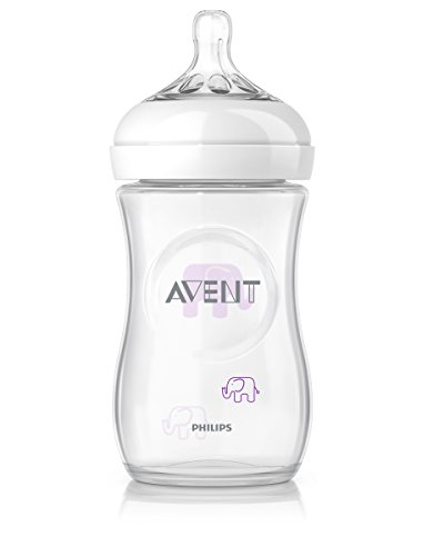 Philips Avent SCF628/17 Biberon Natural Anticoliche per Allattare, in Modo Naturale, Decorato Elefantini, 260 ml, Rosa/Viola