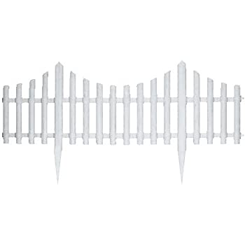 Great Ideas Set Of 4 Mini White Garden Picket Fence Panels   Wood Effect  Plastic Lawn Edging For Plant Borders And Flowerbeds