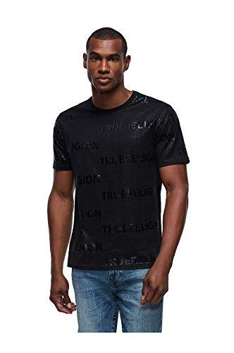 True Religion Herren T-Shirt Tonal Allover-Typ - Schwarz - Mittel