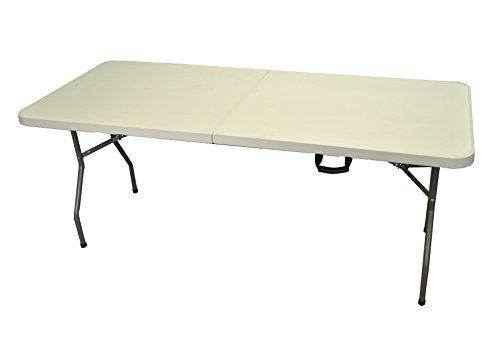 Mesa plegable con caballetes (180cm), color blanco