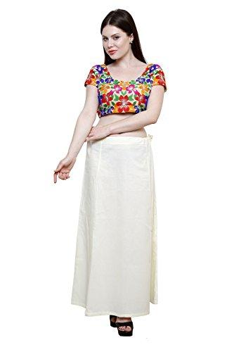Pistaa Women's Cotton Cream Colour Best Ethinic Inskirt Saree petticoats