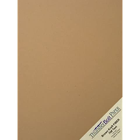 100 Brown Kraft Fiber 70# Text Paper Sheets - 8.5 X 11 (8.5X11 Inches) Standard Letter|Flyer Size - (not cardstock) Weight - Rich Earthy Color with Natural Fibers - Smooth Finish by ThunderBolt Paper
