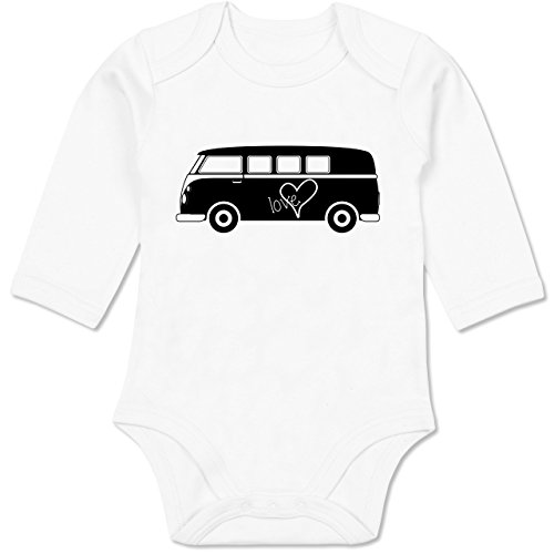 Shirtracer Fahrzeuge Baby - Bus T1-6-12 Monate - Weiß - BZ30 - Baby Body Langarm