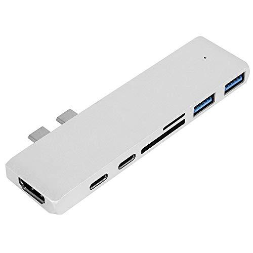 "ZhongYe USB C Hub, USB-C Hub für MacBook Pro 2018/2017/2016 13""&15"", MacBook Air 2018 13"", 7 in 1 Aluminium Thunderbolt 3 Dual Type C Adapter Hub mit HDMI 4K, 3 USB C 3.0, SD/TF Kartenleser (Silber)"