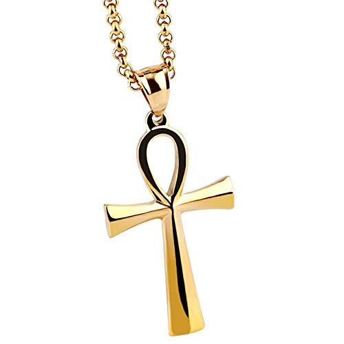 AILUOR pour Hommes en Acier Inoxydable copte Ankh Croix Pendentif Religieux Collier Mode clé de la Vie égyptienne Ankh Croix Collier Bijoux Unisexe, chaîne de 20 Pouces (Gold)