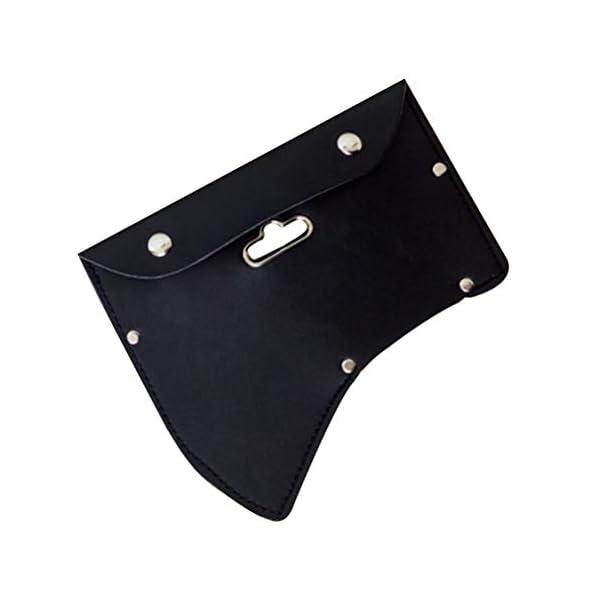 OUNONA Axe Ax Sheath Protective Case Axe Leather Cover with Hook (Black) 2