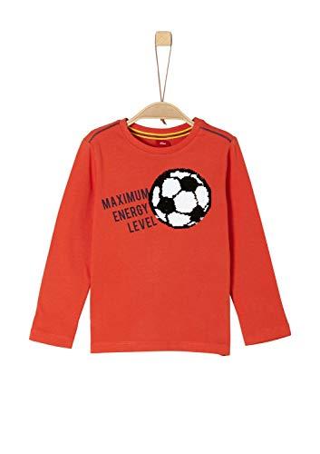 s.Oliver Jungen Regular Fit Langarmshirt 63.902.31.3232, Einfarbig, Gr. 116 (Herstellergröße: 116/122/REG), Rot (Red 2610)