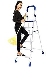 Happer Premium Foldable Aluminium Step Ladder, Clamber Pro, 6 Steps (Blue & Satin)