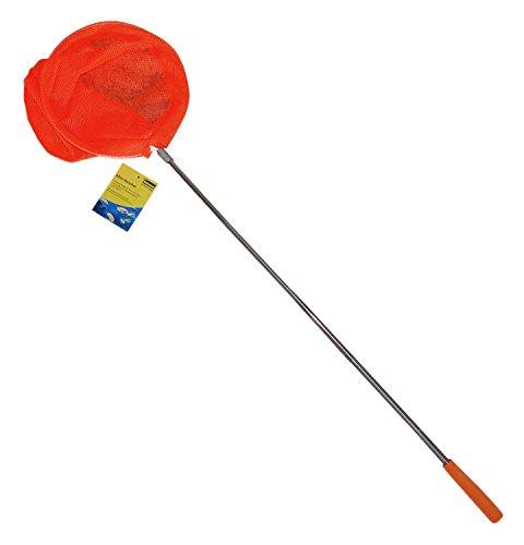 Idena 40077 - Mini Kescher aus Metall mit ausziehbarer Teleskopstange, von ca. 37 cm bis ca. 72 cm, für Kinder oder zum Angeln, orange