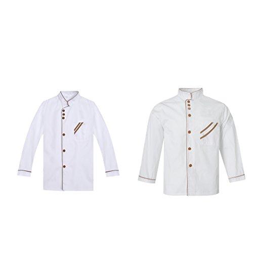 (Baoblaze 2 Stück Koch Uniformen Küche Jacke Restaurant Mantel Koch Arbeitskleidung)