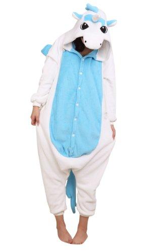 einhorn kigurumi Kigurumi Unisex Tier-Onesie, Kapuzenkostüm, Schlafanzug, - blaues Einhorn - Größe: SMALL (145-155CM)