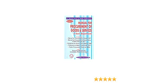 Amazon in: Buy Manual For PROCUREMENT of Goods & Services in