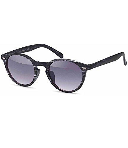 Caripe Damen Herren Retro Vintage Sonnenbrille runde Gläser verspiegelt + getönt (1200 - Holzoptik schwarz-grau - smoke Verlauf)