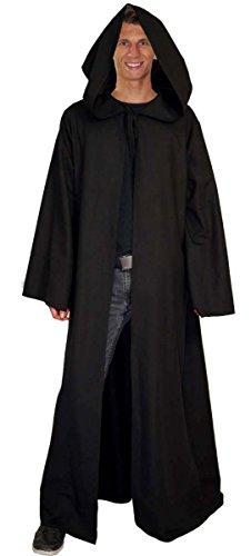 Maylynn - Umhang Mittelalter schwarz Mönch Kostüm Jedi Vampir Kutte 100% Baumwolle Gothic LARP Herren, Größe:M