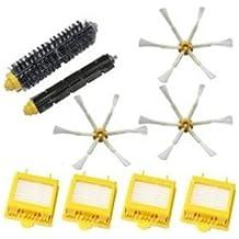 TOP-MALL Kit de filtros HEPA y el cepillo de cerda y flexible batidor Cepillo y 6-Armed Side Brush Pack para iRobot Roomba serie 700 760 770 780
