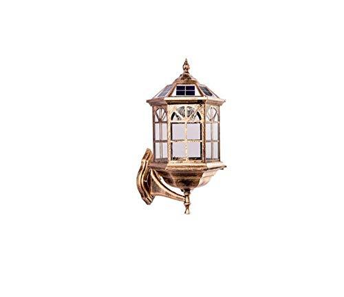 Retro Lichtcreative Personality Outdoor Wasserdichte Gartenlampe Villa Community Street Lamp Europäische Solar Wandleuchte 6 Zoll, Solarenergie [Energieklasse A +]