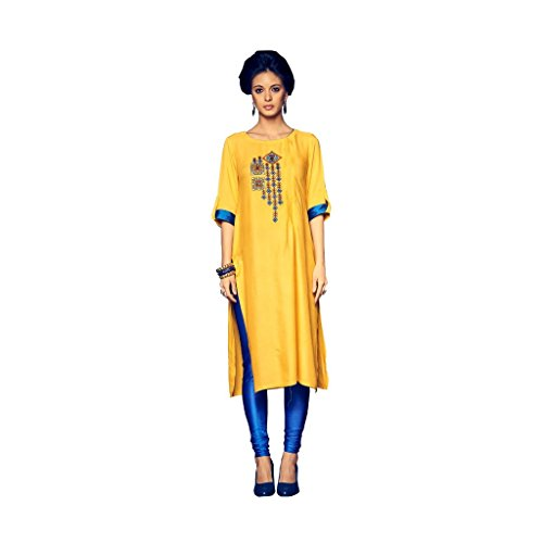 Kurti (SRK RETAIL Women\'s Cotton Reyon 3/4 sleeve Straight Yellow Color Women Kurti)
