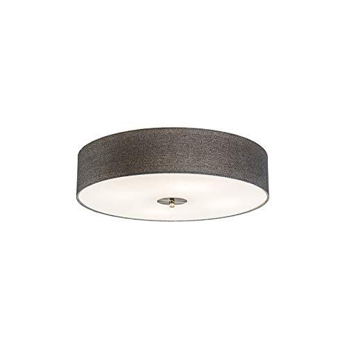 QAZQA Landhaus/Vintage/Rustikal/Modern Deckenleuchte/Deckenlampe/Lampe/Leuchte Drum mit Schirm 50 Jute grau/ 4-flammig/Innenbeleuchtung/Wohnzimmerlampe/Schlafzimmer/Küche Glas/Text